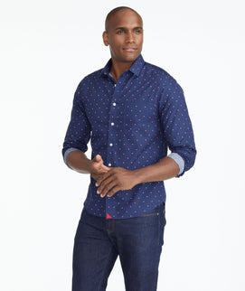 Model wearing a Navy Wrinkle-Free Shirt with Sail Print