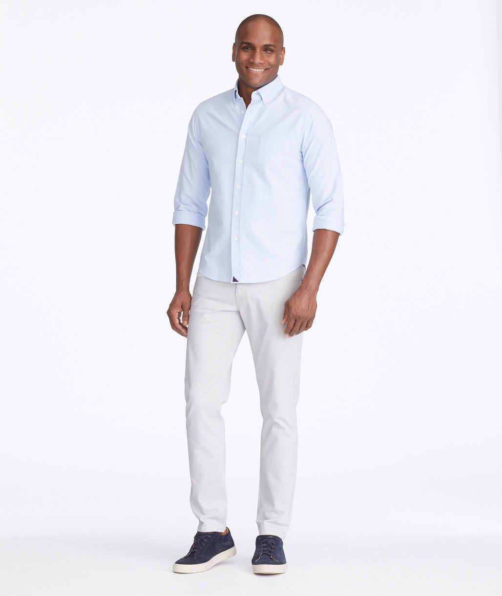 Model wearing a Light Grey 5-Pocket Pants