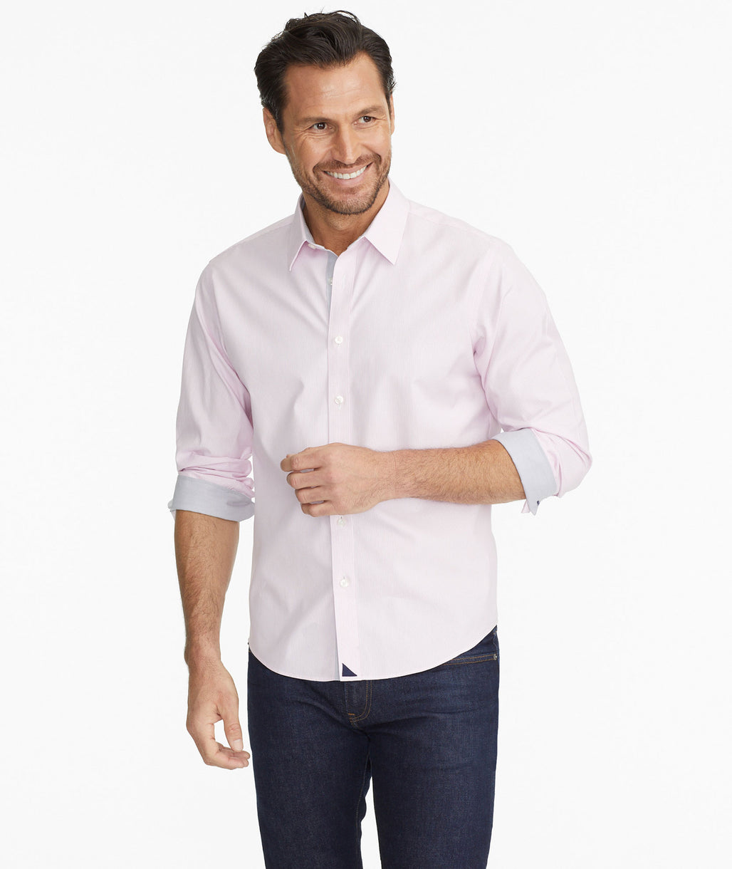 Model wearing a Pink Wrinkle-Free Striped Shirt with Contrast Interior