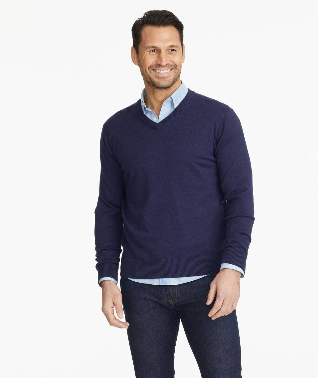 Model wearing a Blue Cotton-Linen V-Neck Sweater