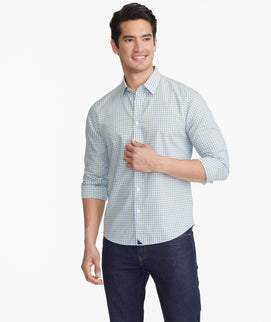 Model wearing a Blue Wrinkle-Free Dubois Shirt