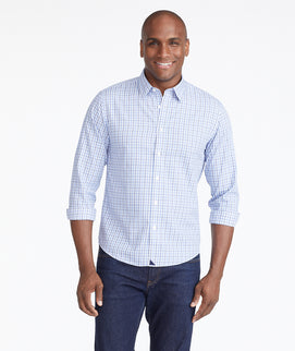 Model wearing a Blue Wrinkle-Free Durif Shirt