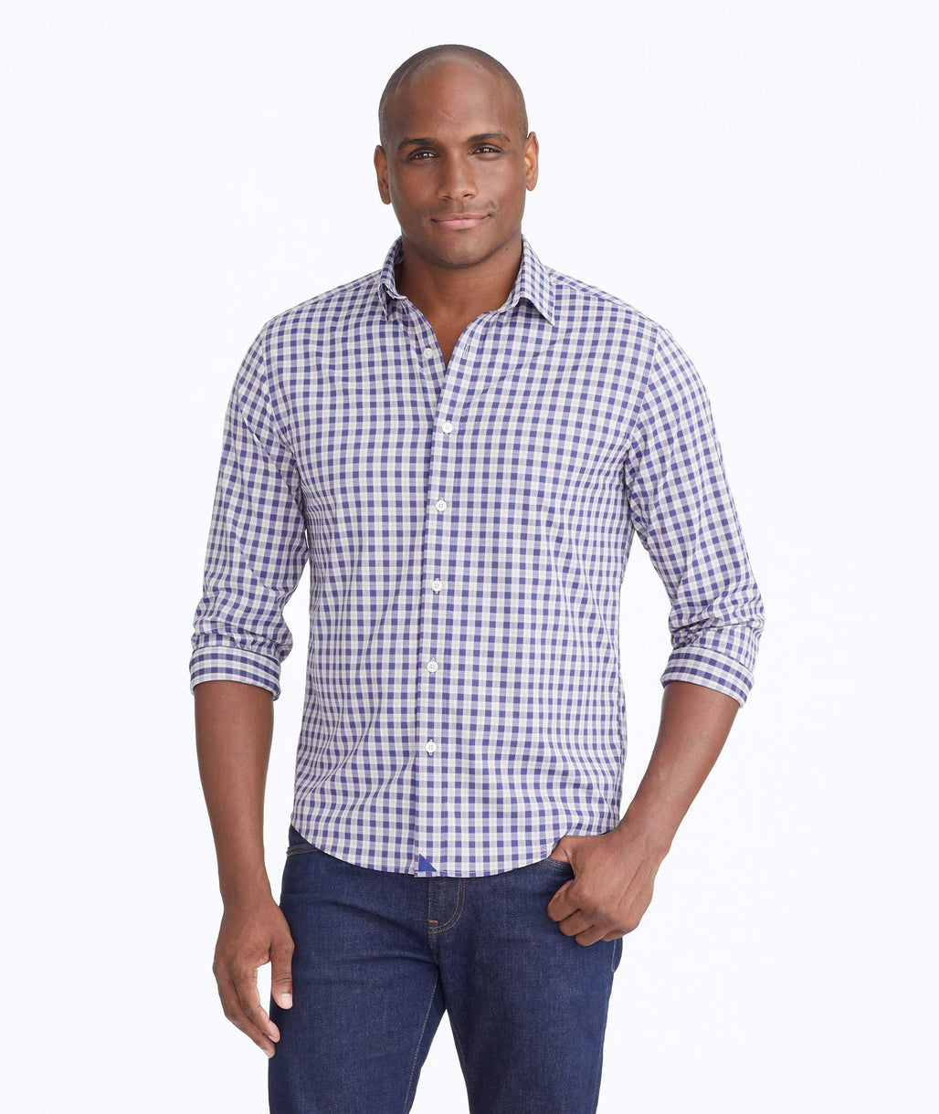 Model wearing a Tan Wrinkle-Free Performance Egravin Shirt