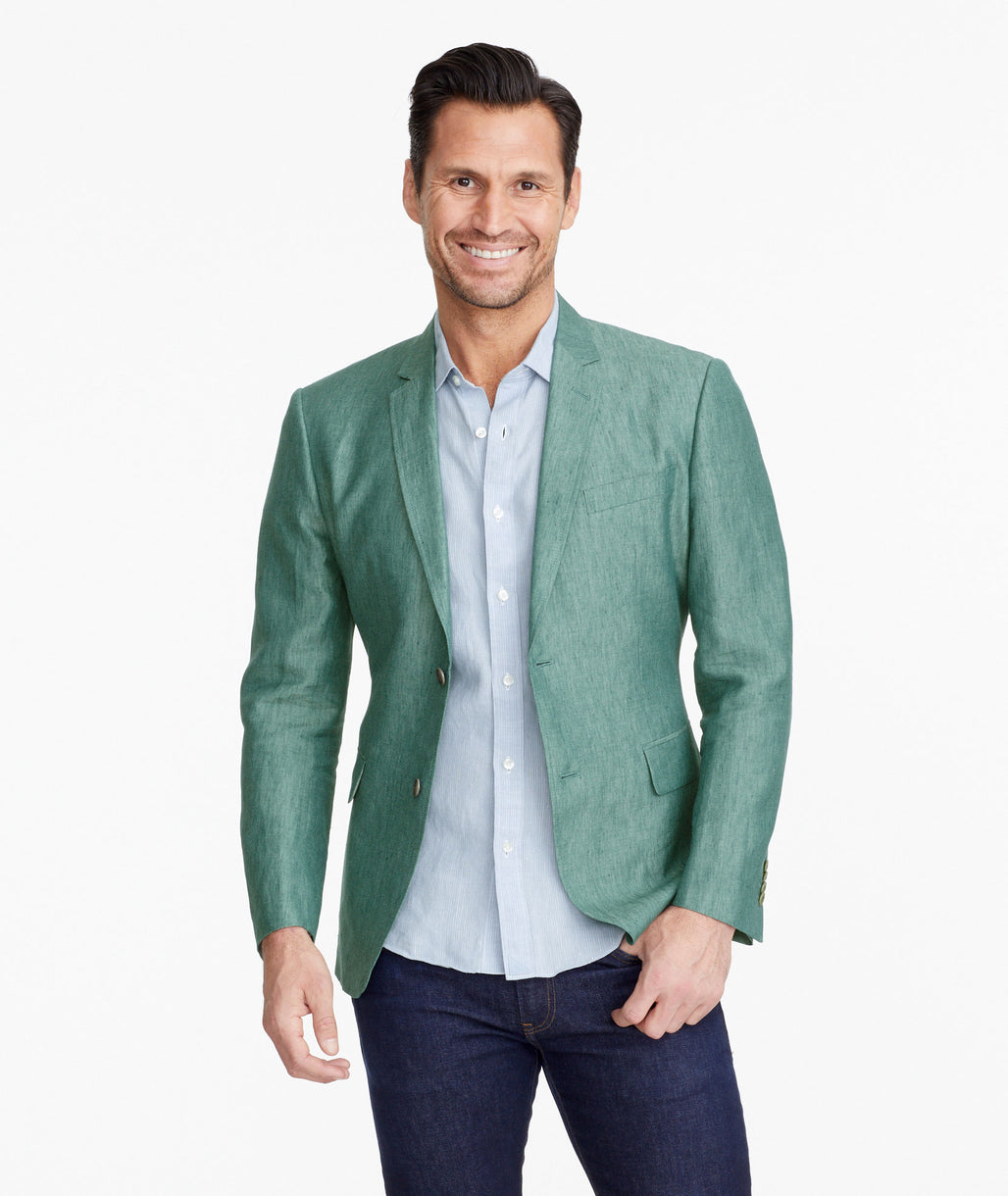 Model wearing a Green Linen-Silk Evora Sport Coat