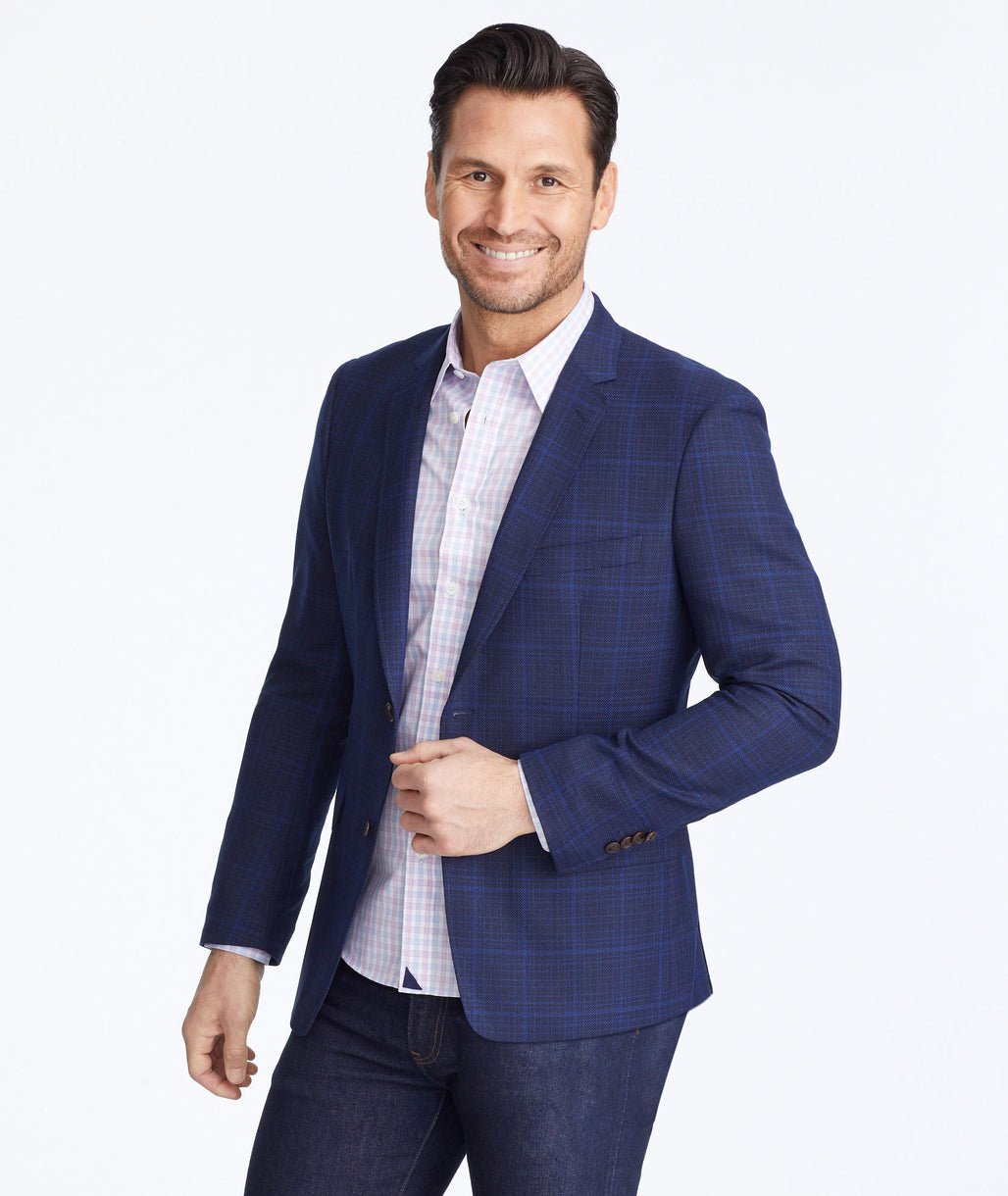 Model wearing a Blue Fanucchi Sport Coat