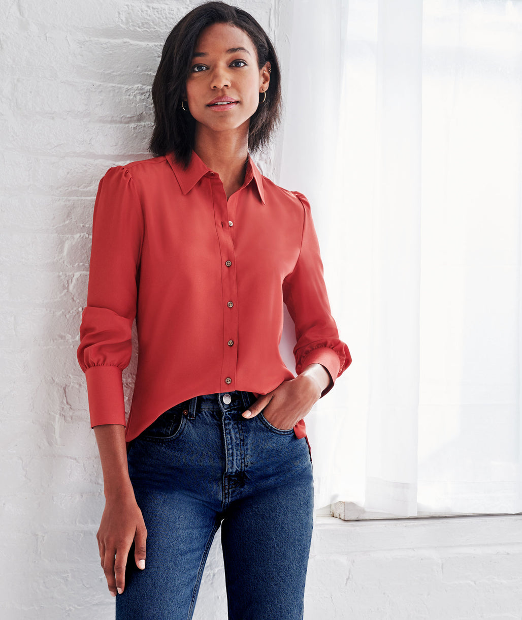 Model wearing a Red Francine Shirt