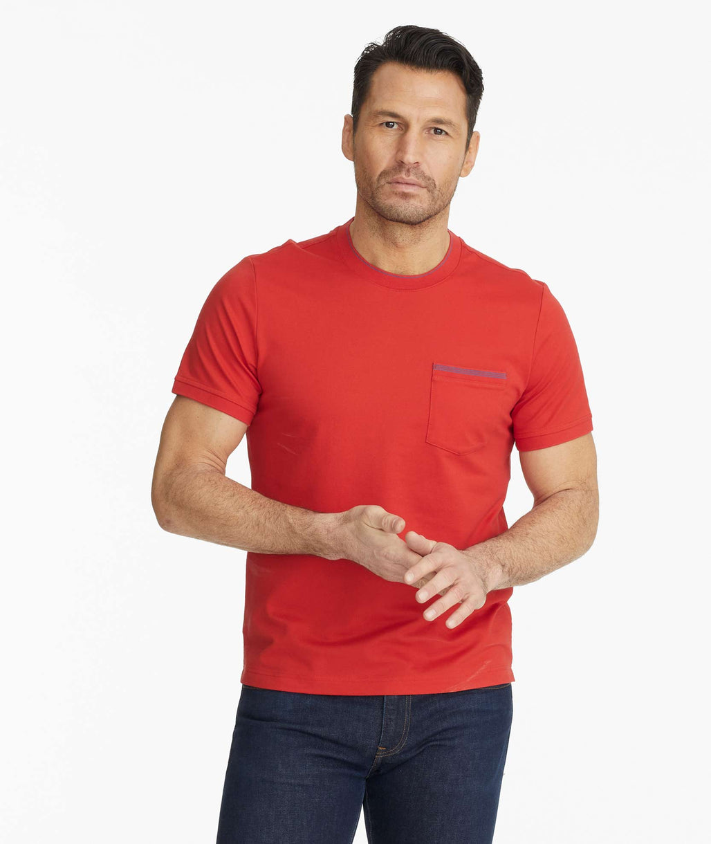 Model wearing a Red Bar Harbor Tee