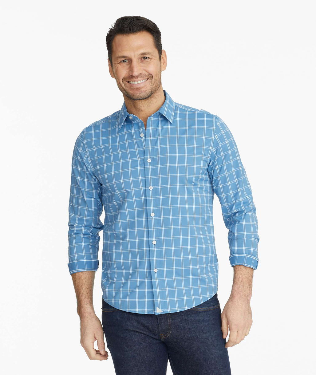 Model wearing a Blue Wrinkle-Free Performance Garrett Shirt