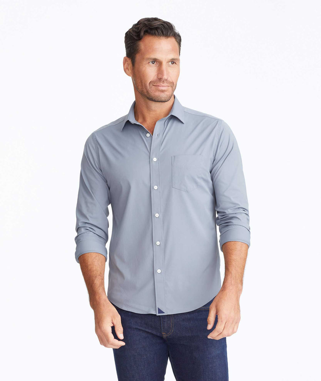 Model wearing a Mid Grey Wrinkle-Free Performance Gironde Shirt