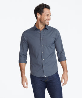 Model wearing a Light Grey Wrinkle-Free Performance Gironde Shirt