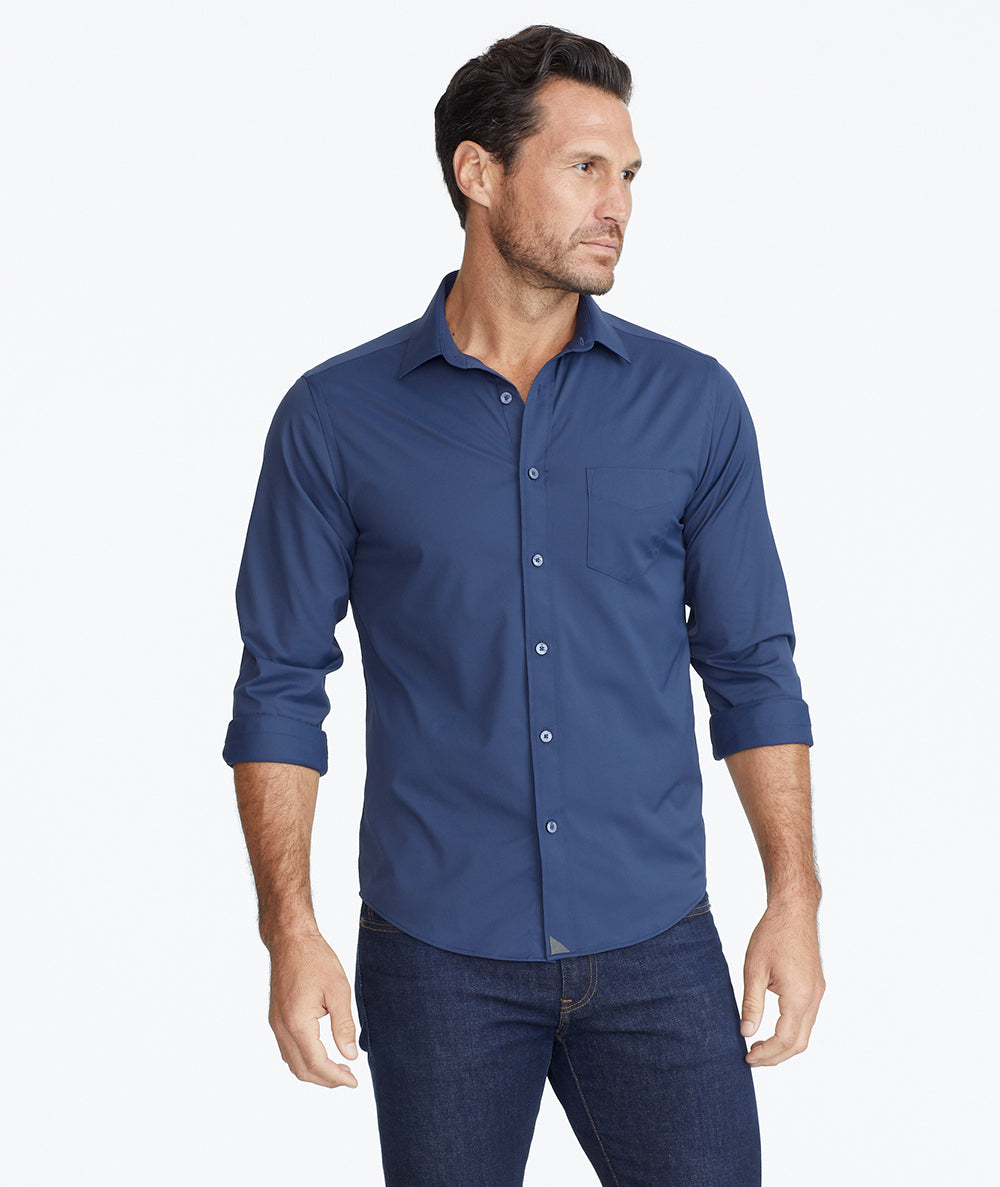 Model wearing a Navy Wrinkle-Free Performance Gironde Shirt