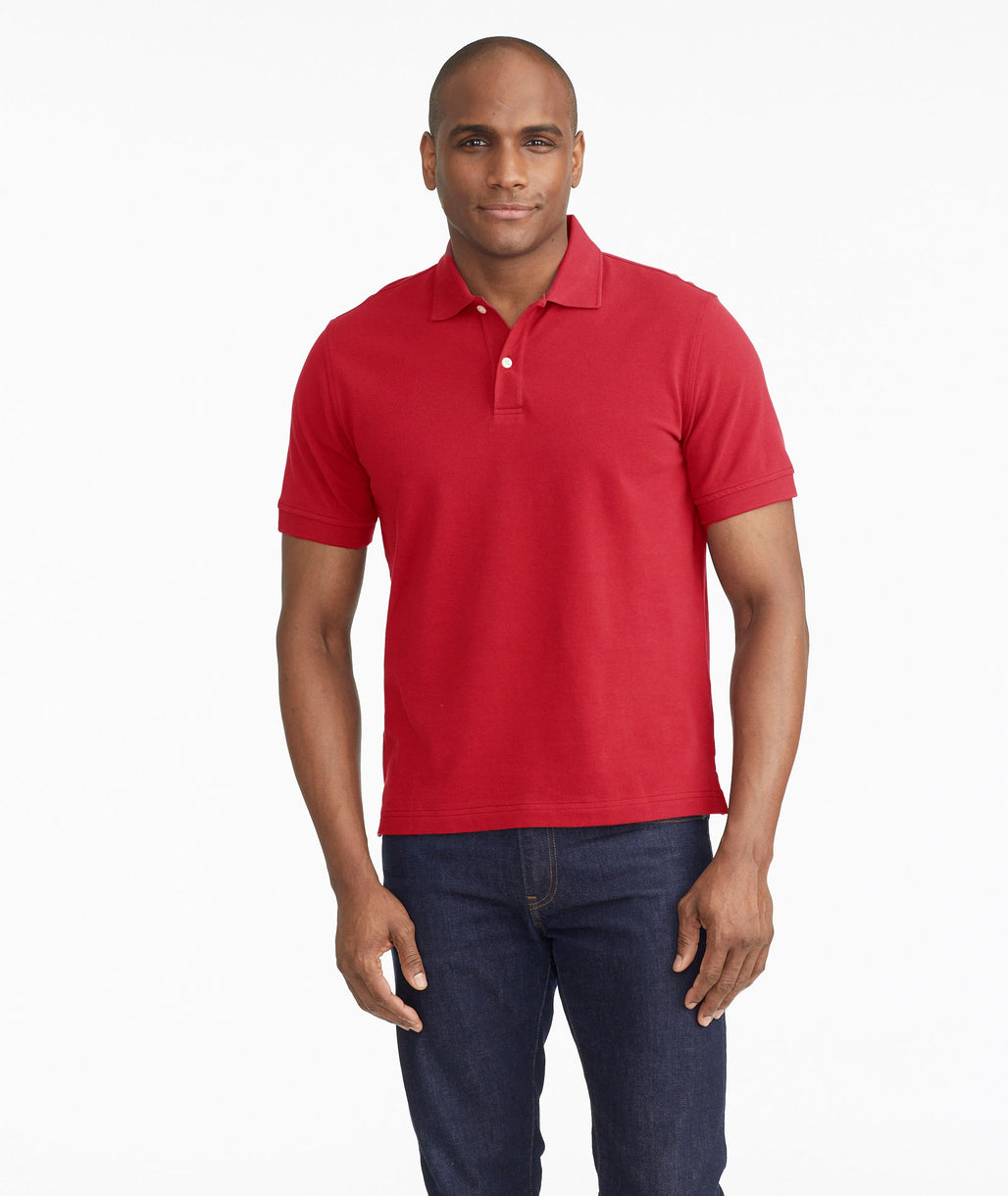 Model wearing a Mid Red Classic Pique Polo
