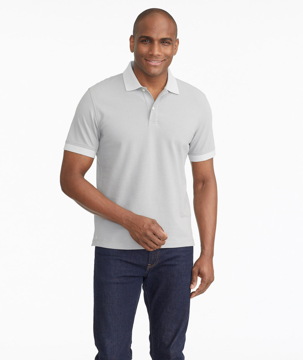Model wearing a Grey The Classic Pique Polo - FINAL SALE