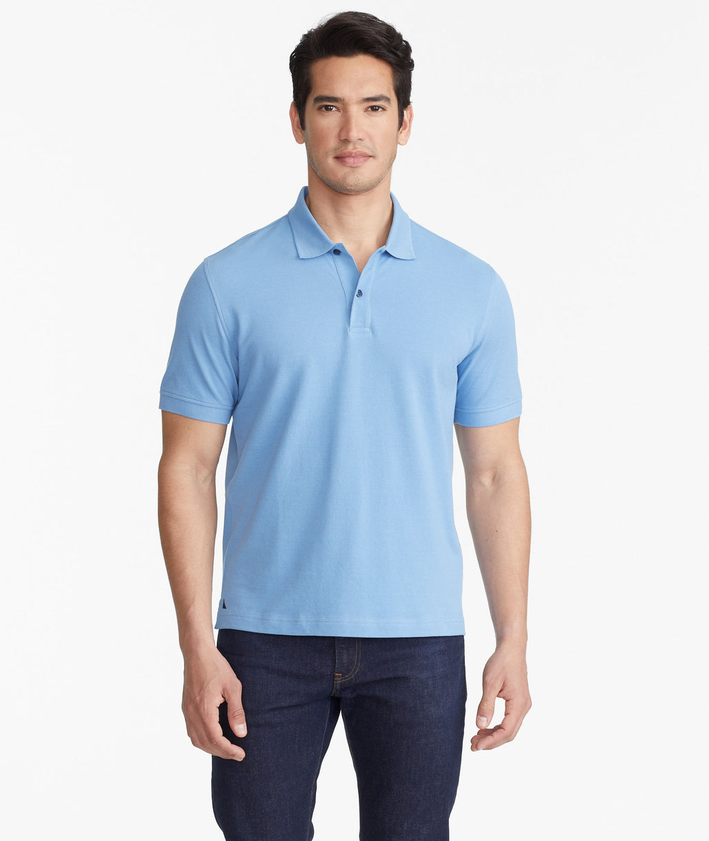 Model wearing a Mid Blue The Classic Pique Polo