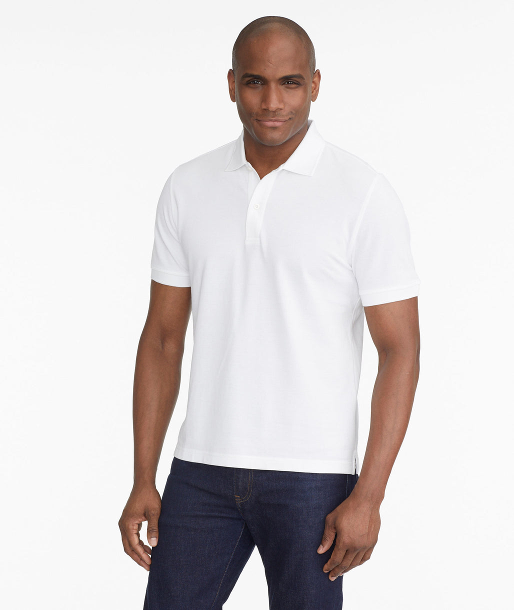 Model wearing a White The Classic Pique Polo