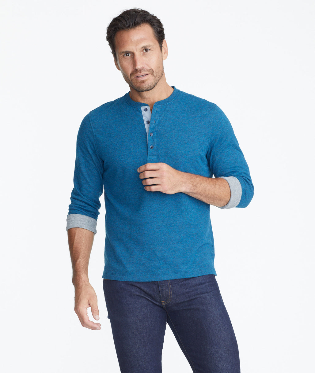 Model wearing a Bright Blue Double-Faced Long-Sleeve Henley