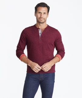 Model wearing a Dark Purple Double-Faced Long-Sleeve Henley