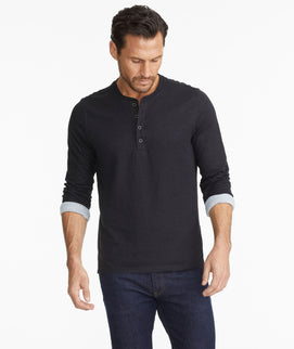 Model wearing a  Double-Faced Long-Sleeve Henley
