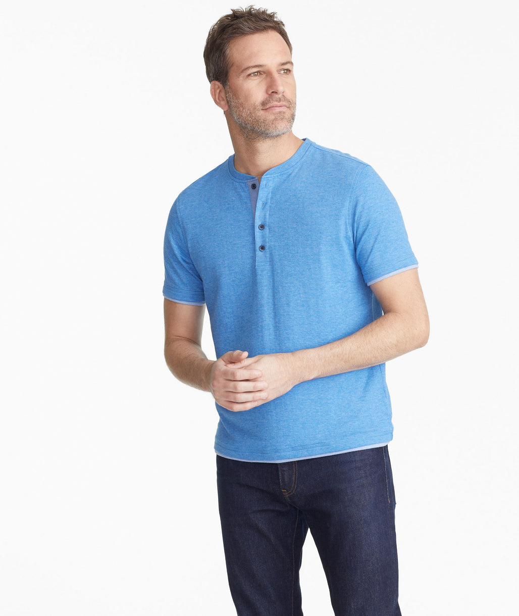 Model wearing a Blue The Double-Faced Short-Sleeve Henley - FINAL SALE