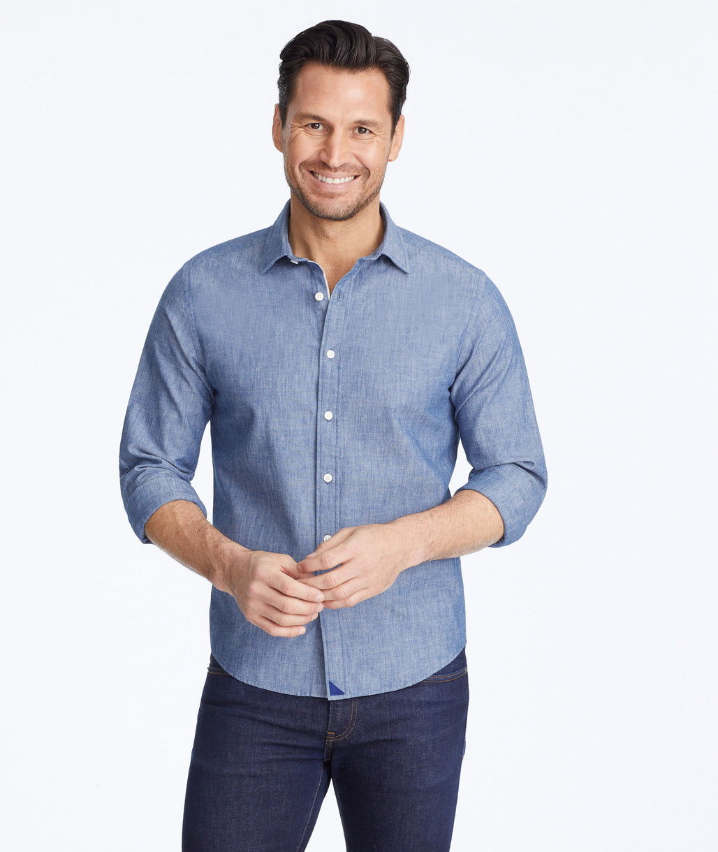 Model wearing a Blue Chambray Gravner Shirt