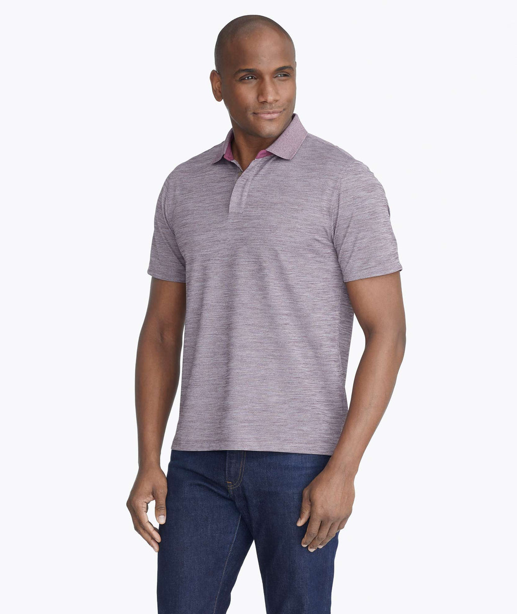 Model wearing a Purple Heathered No Sweat Polo