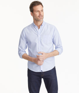 Model wearing a Blue Wrinkle-Free Hillside Select Shirt