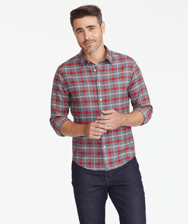 Model wearing a Grey Flannel Jaxon Shirt
