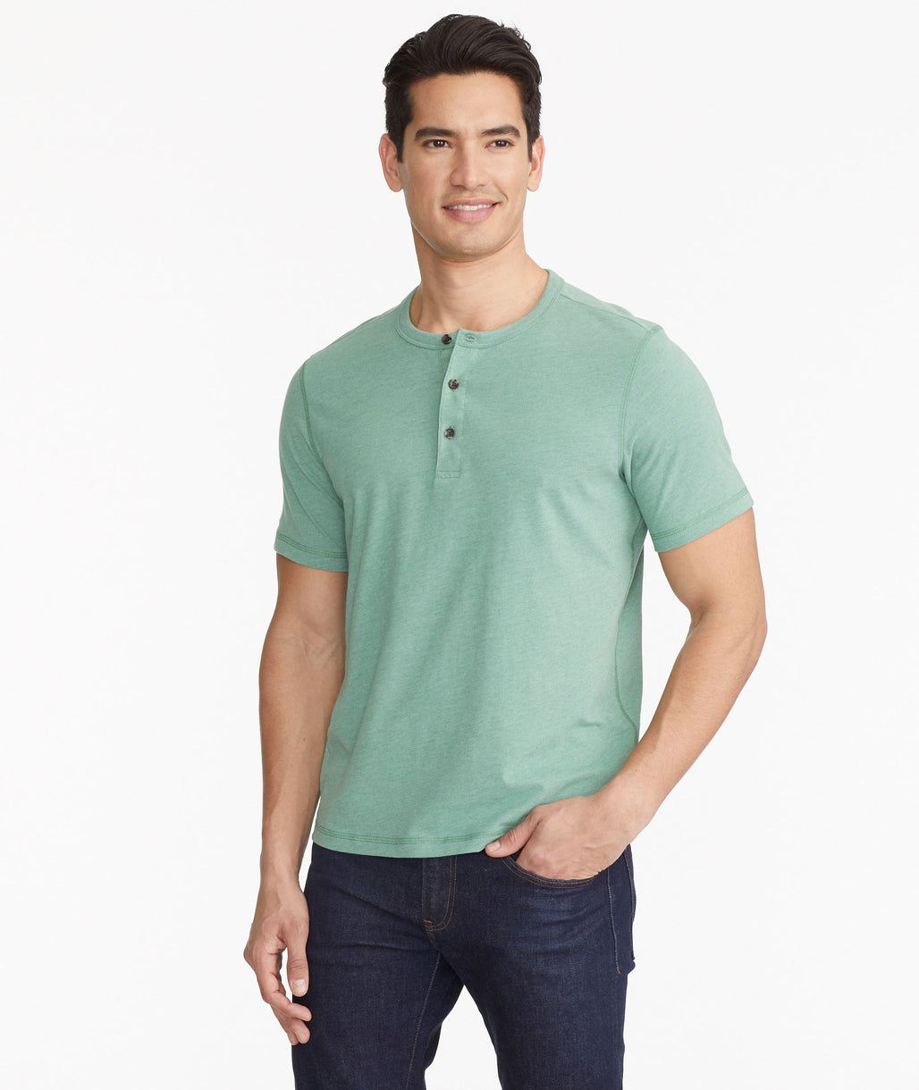 Model wearing a Green Ultrasoft Short-Sleeve Henley