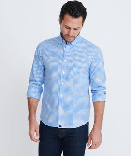 Model wearing a Blue Wrinkle-Free Kabashi Shirt