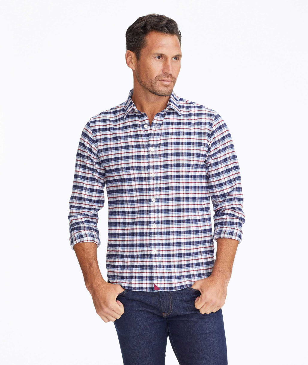 Model wearing a Blue Flannel Kaesler Shirt