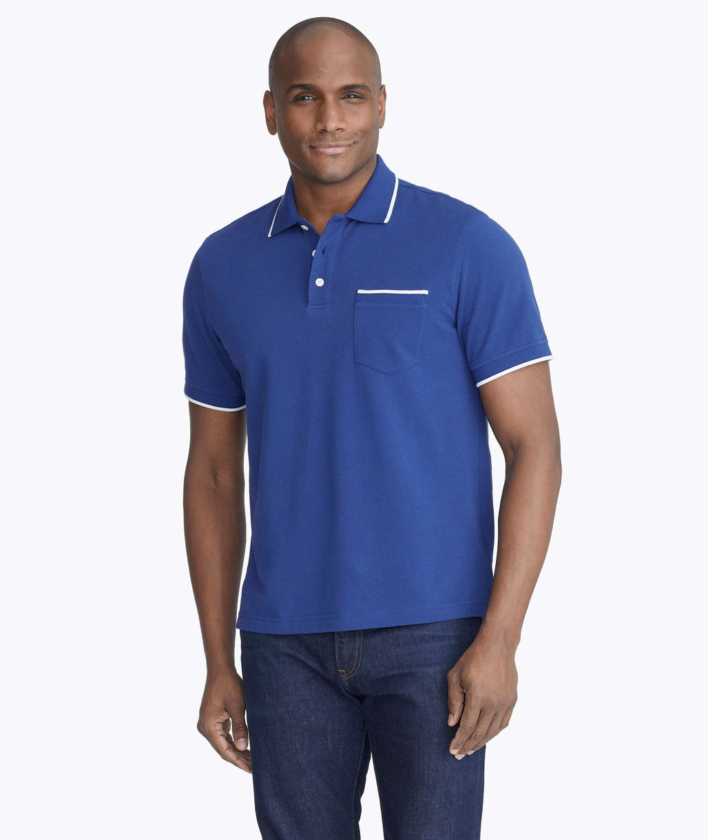 Model wearing a Dark Blue Bar Harbor Tipped Pique Polo