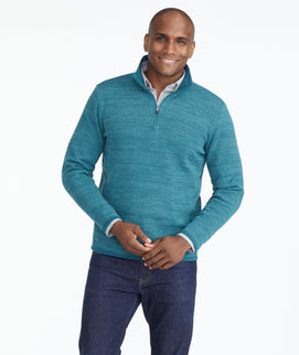 Model wearing a Mid Green Fleece Quarter-Zip