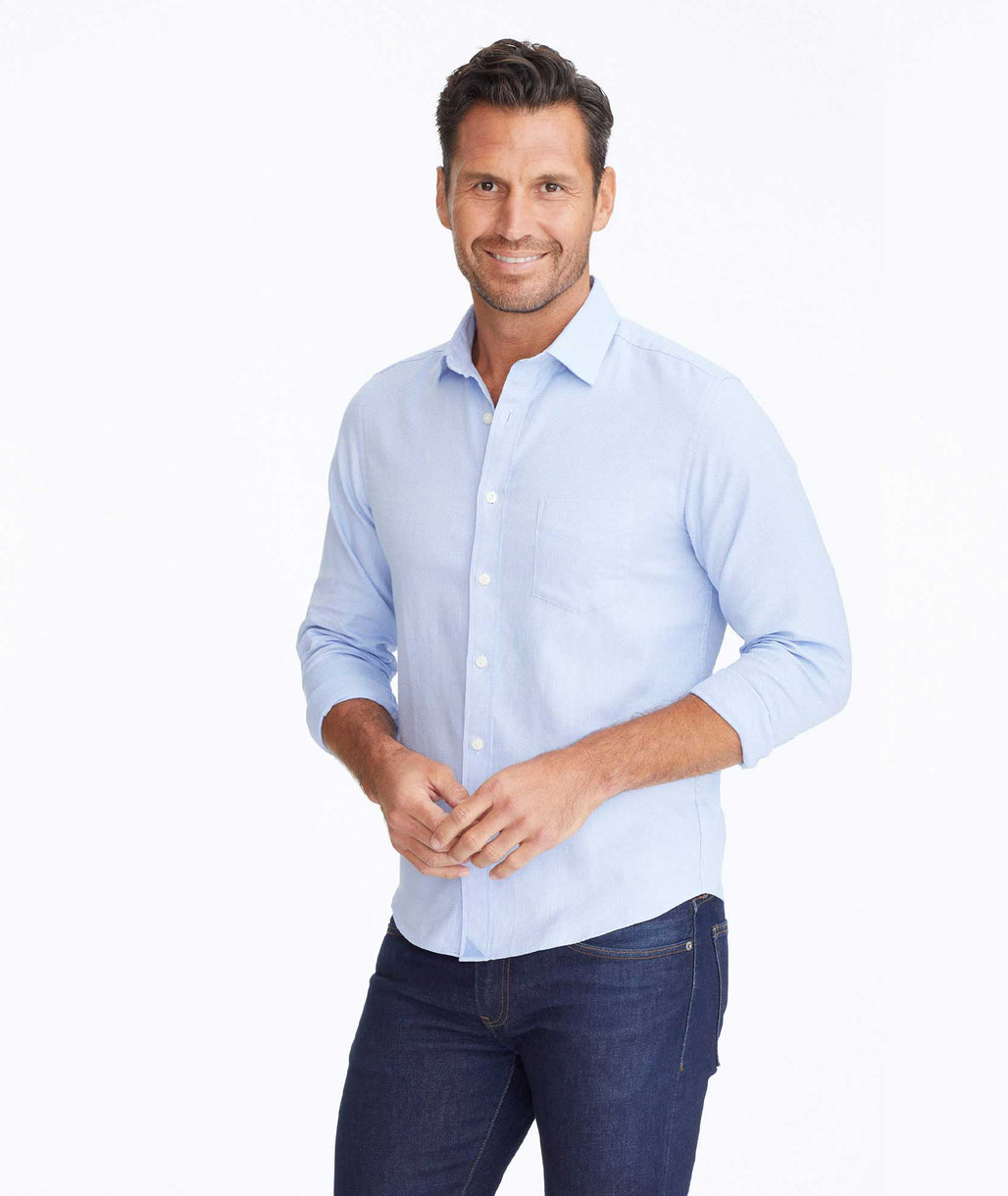 Model wearing a Light Blue Classic Cotton Kvint Shirt