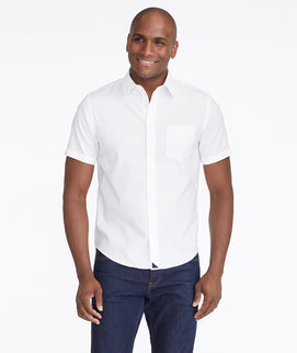 Model wearing a White Wrinkle-Free Short-Sleeve Shirt