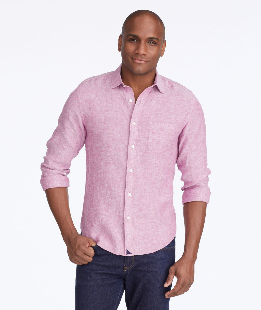 Model wearing a Light Red Wrinkle-Resistant Linen Laleure Shirt