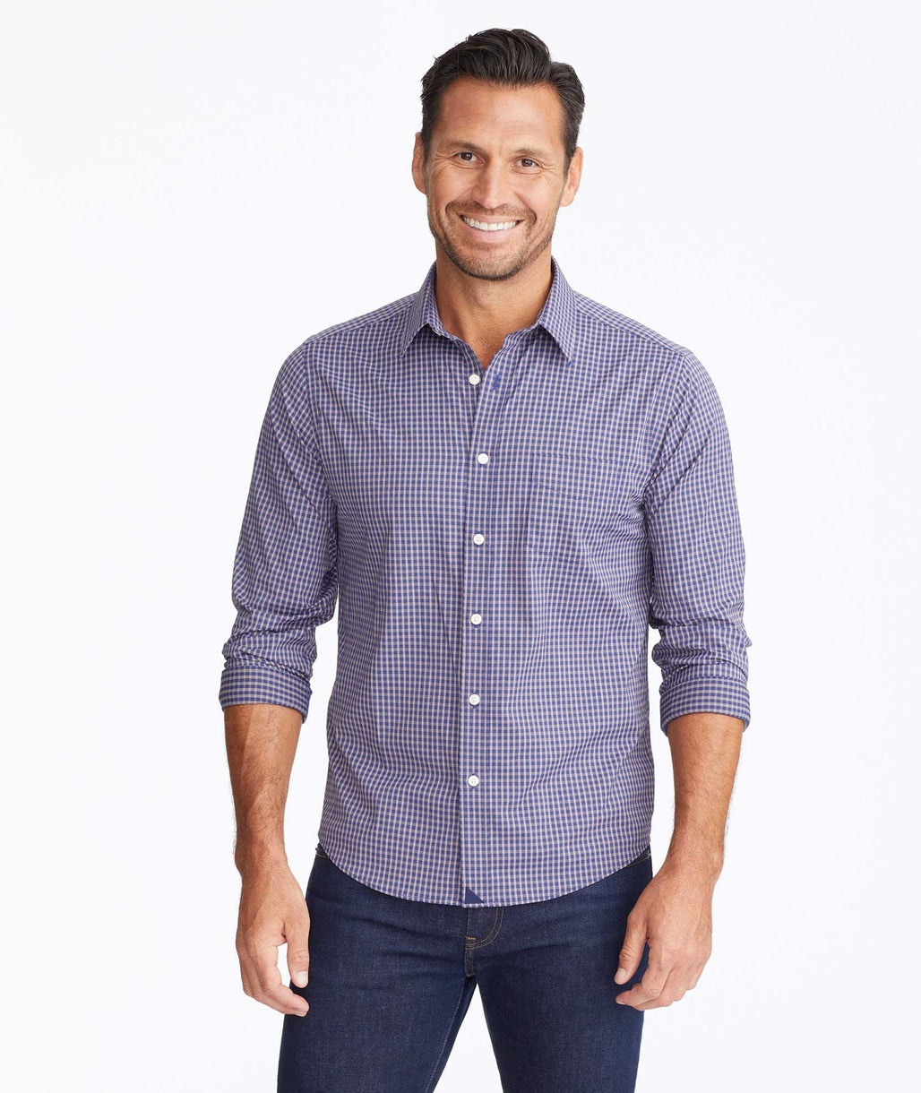 Model wearing a Navy Wrinkle-Free Performance Larkin Shirt