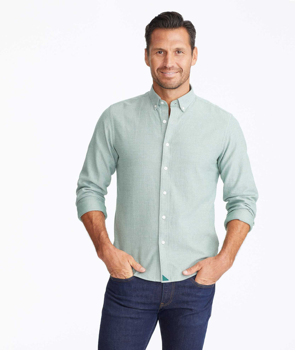 Model wearing a Green Flannel Librando Shirt