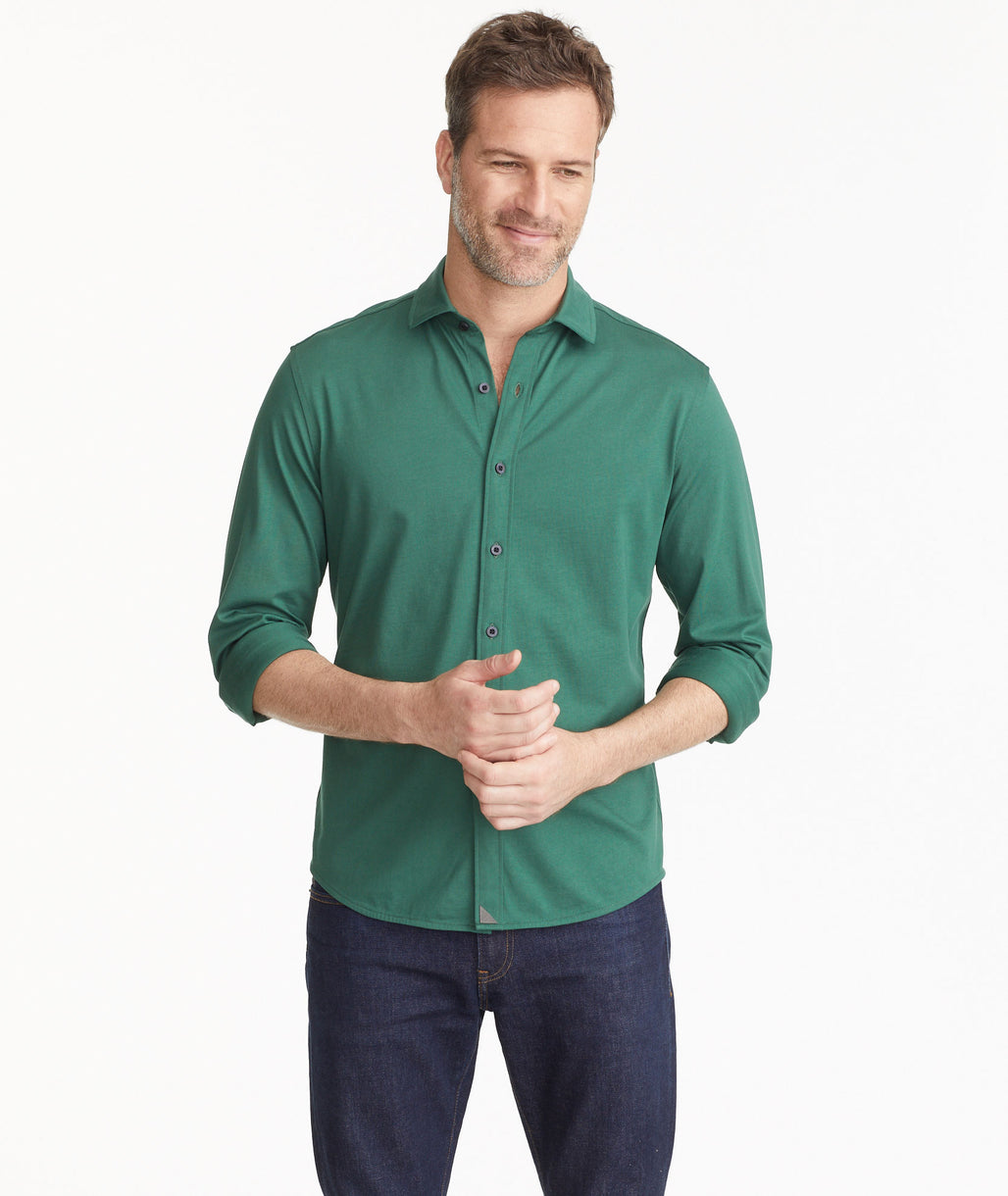 Model wearing a Mid Green Luxe Tee Hybrid Shirt