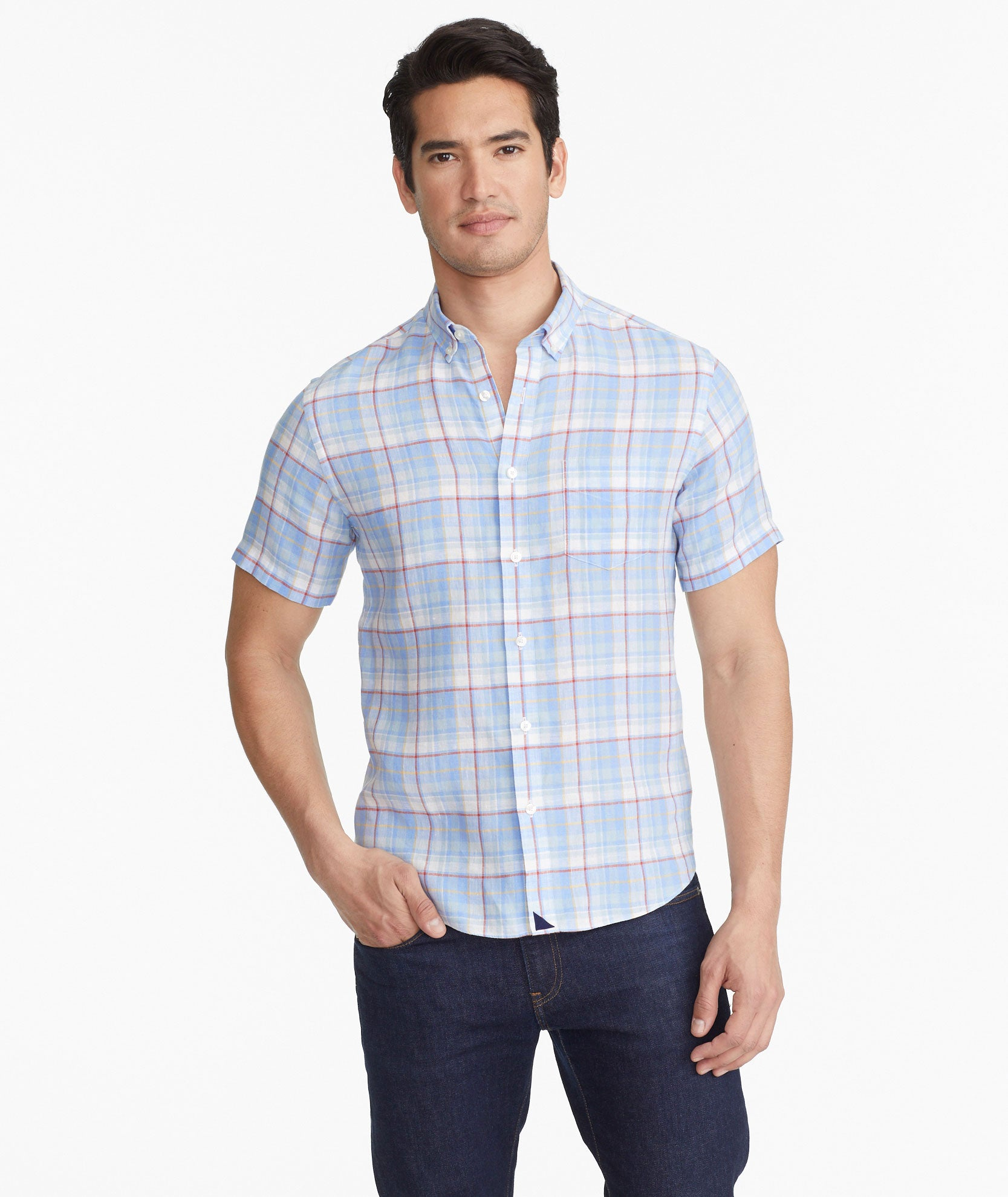 fb032623026c90 Matisco- Wrinkle Resistant Blue Red & Yellow Plaid Linen   UNTUCKit