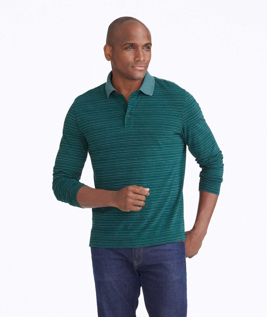 Model wearing a Green Striped Long-Sleeve Polo