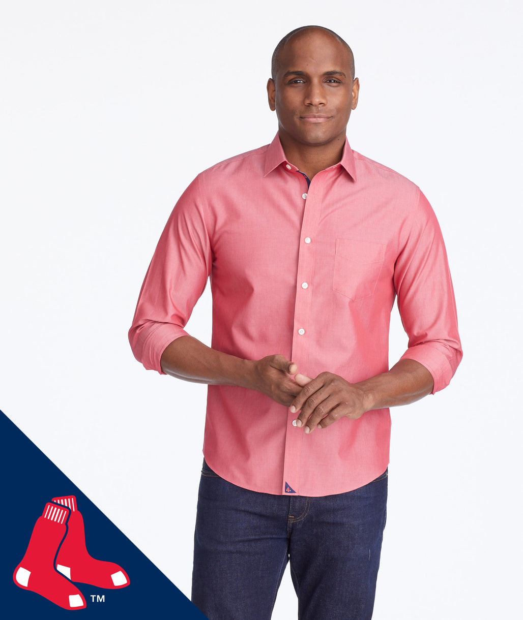 Model wearing a Red Red Sox MLB Signature Series Shirt