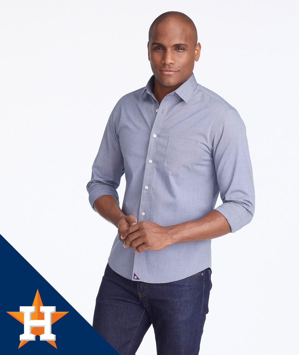 Model wearing a Navy Astros MLB Signature Series Shirt