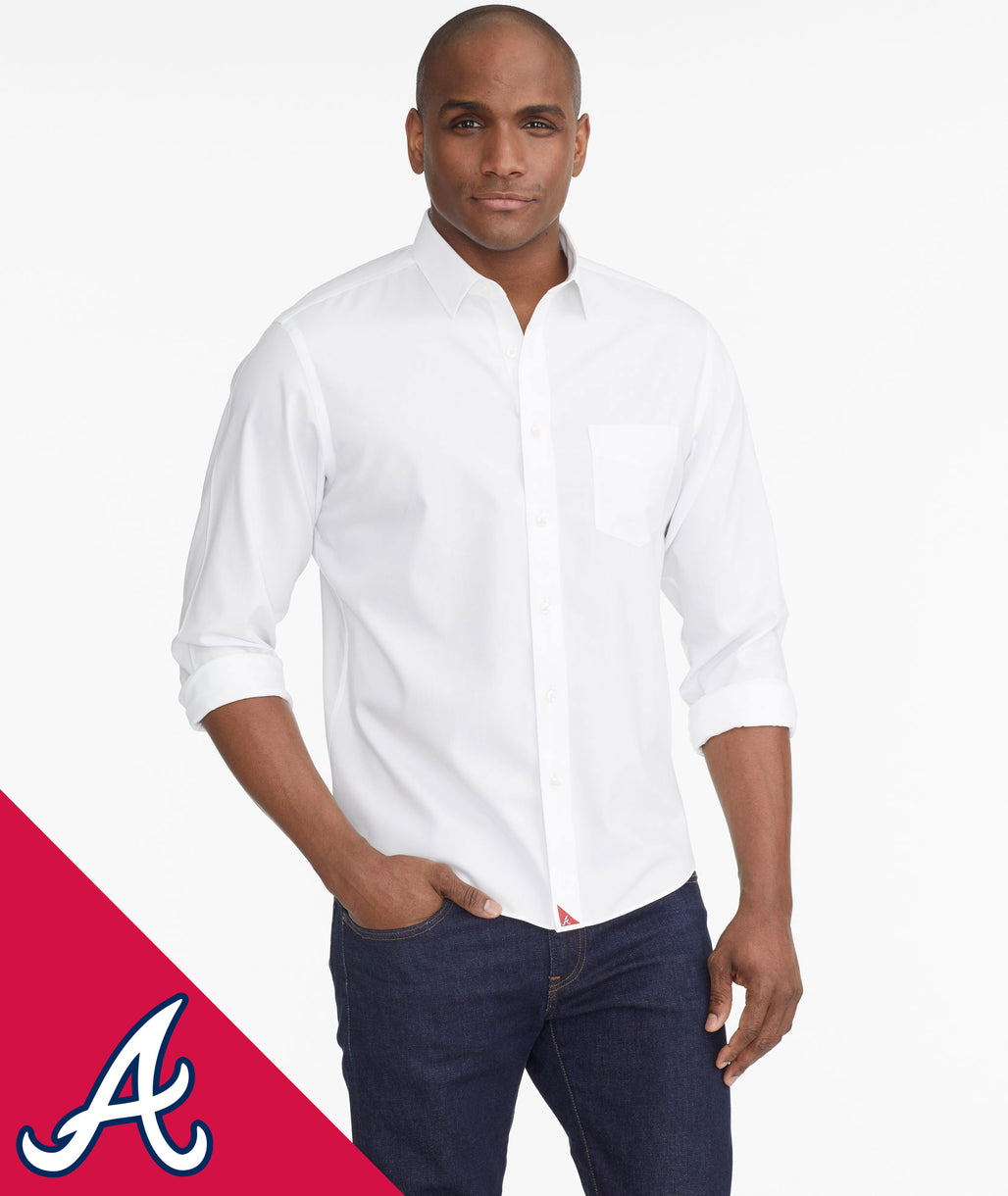 Model wearing a White Braves Signature Series Button-Down