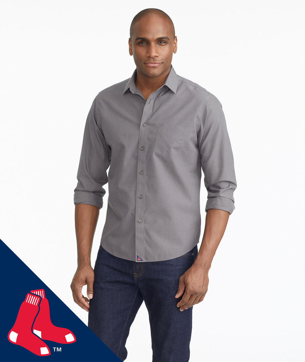 Model wearing a Grey Red Sox Signature Series Button-Down