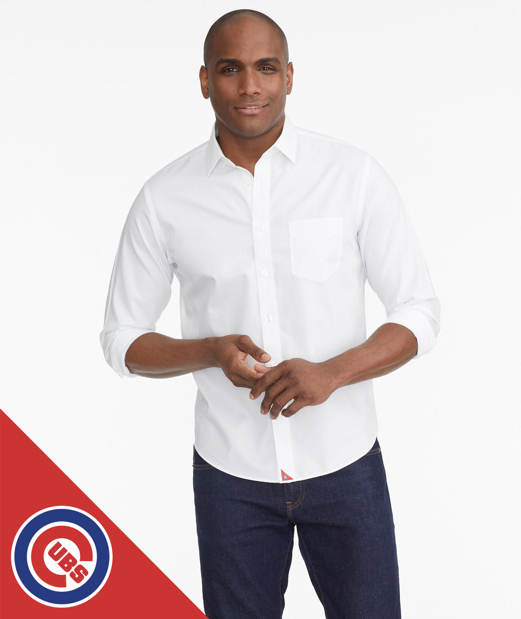 Model wearing a White Cubs Signature Series Button-Down