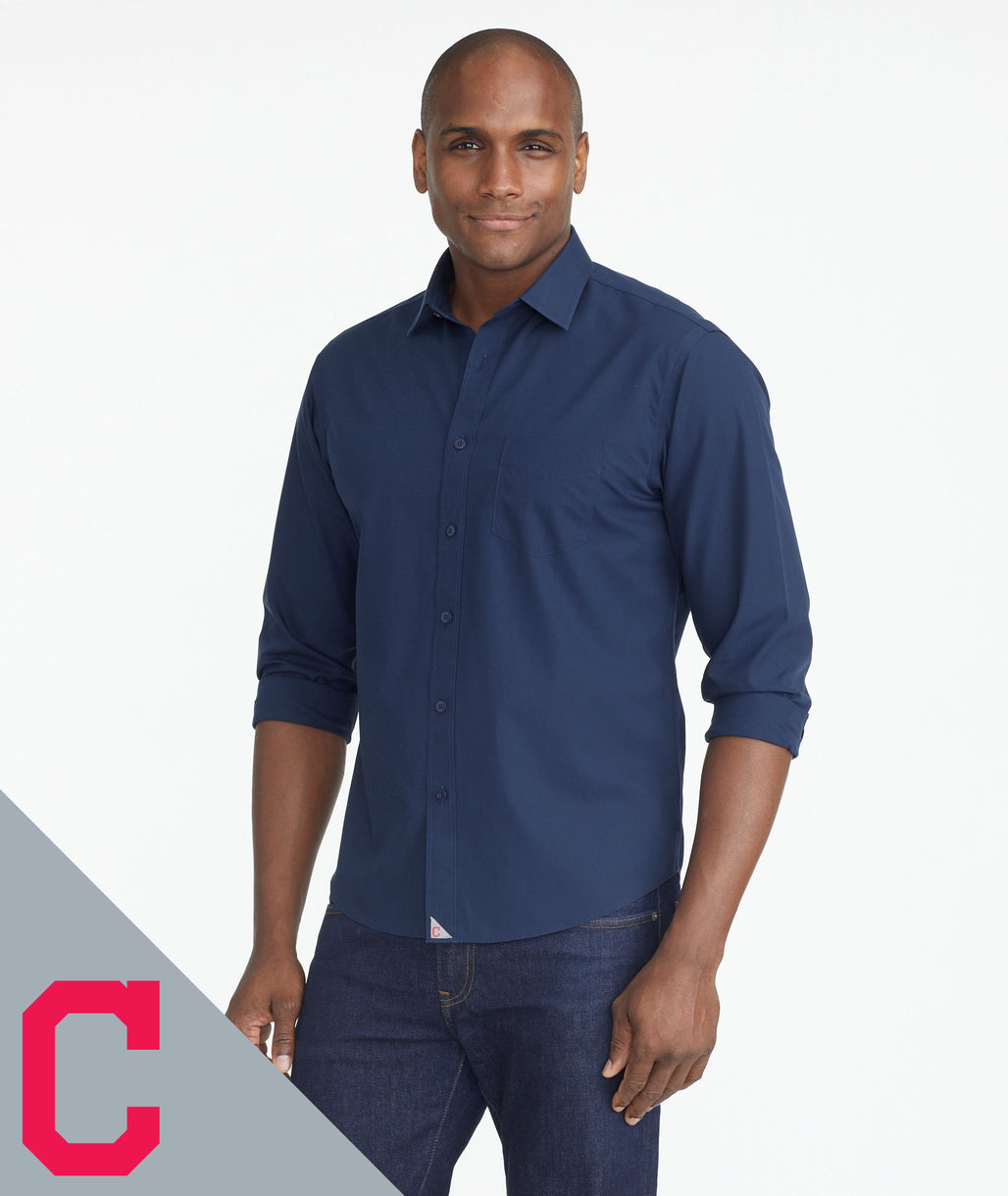 Model wearing a Navy Indians Signature Series Button-Down