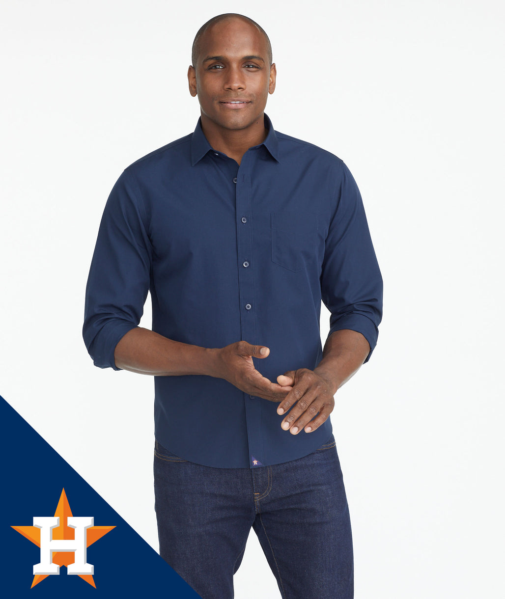Model wearing a Navy Astros Signature Series Button-Down