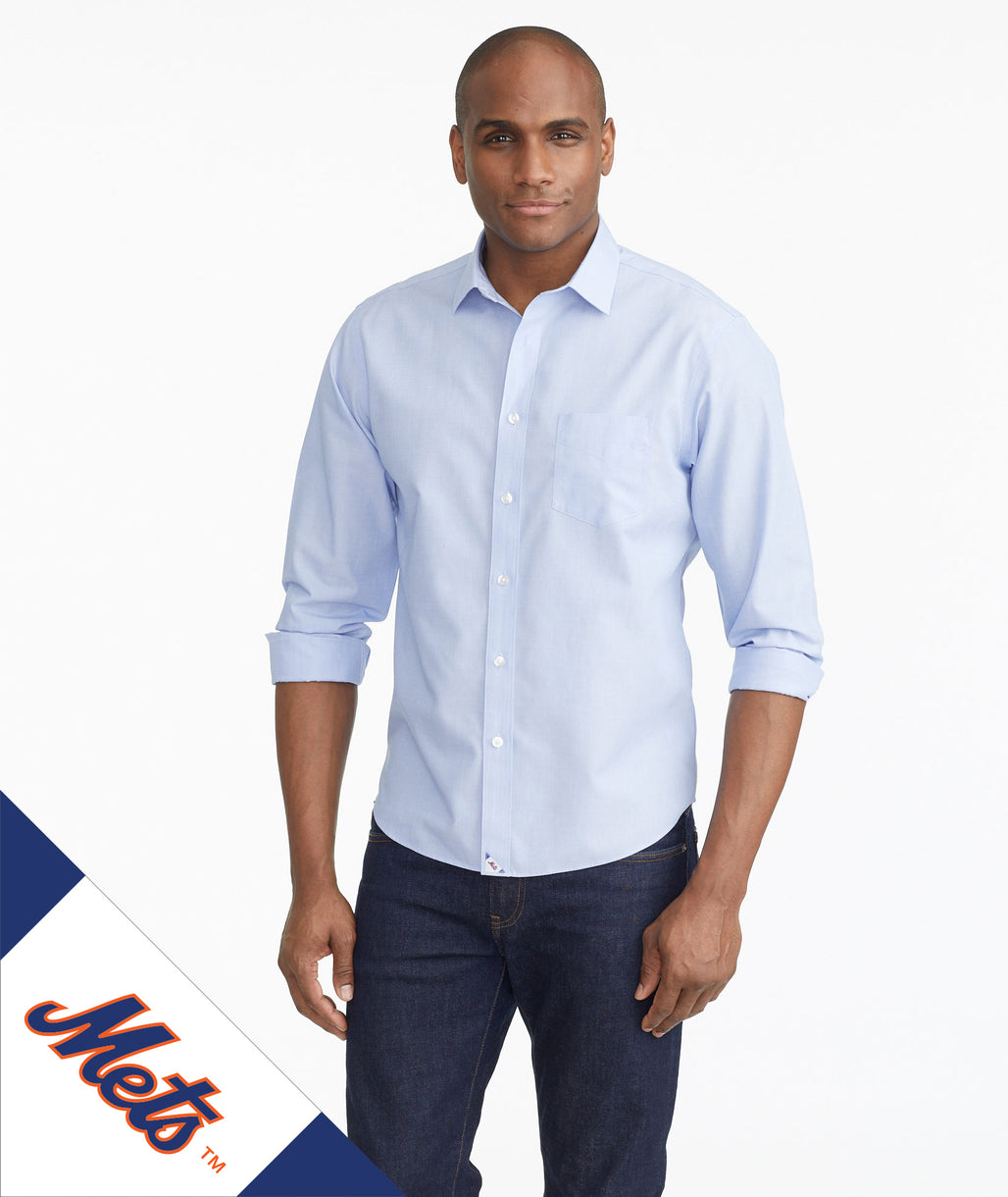 Model wearing a Blue Mets Signature Series Button-Down