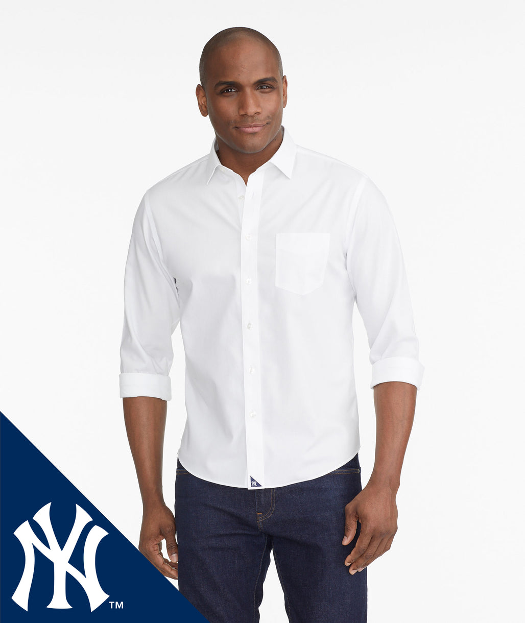 Model wearing a White Yankees Signature Series Button-Down