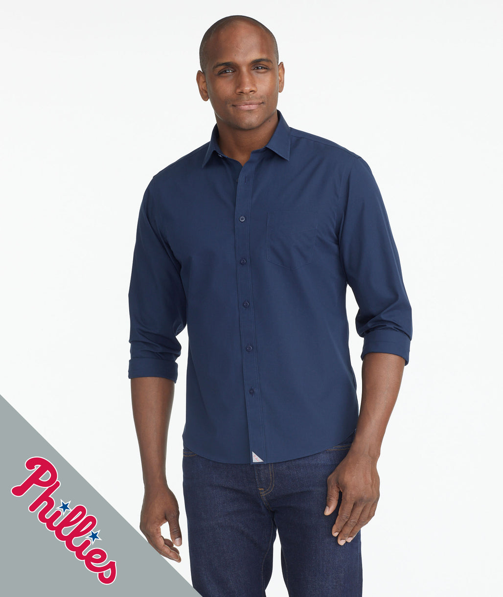 Model wearing a Navy Phillies Signature Series Button-Down